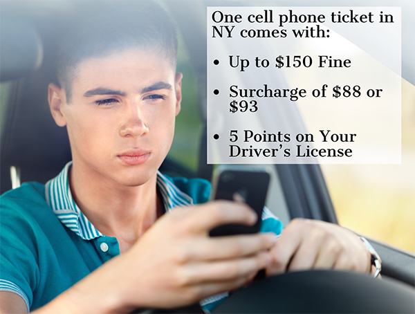 Image of teen driver on cell phone explains cell phone violations in NY